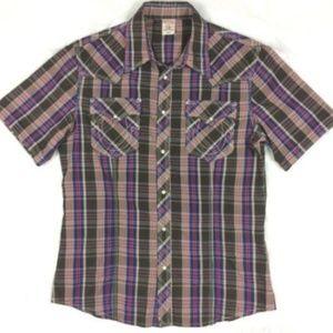 True Religion Plaid Shirt Short Sleeve Pearl Snap